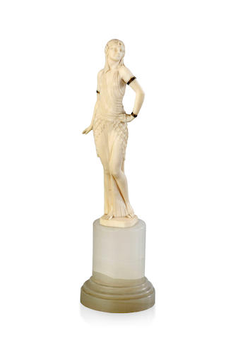 An ivory figure of an Egyptian dancer by Joe Descomps, circa 1936
