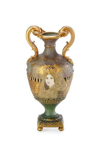 An Austrania Rienssner Stellmacher & Kessel Amphora two handled vase, circa 1900