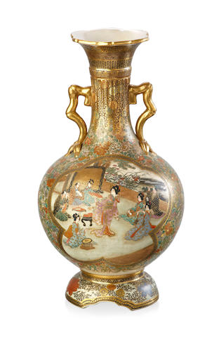 A Japanese Satsuma two handled bottle vase, Meiji Period signed Dia Nihou