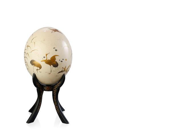 A Japanese Ostrich Egg Meiji Period