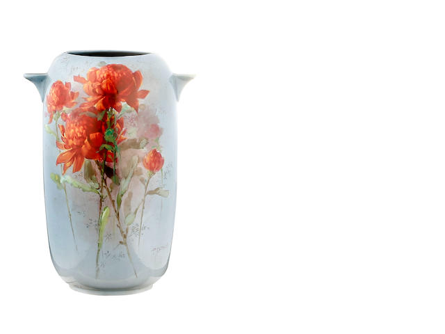 A Royal Doulton Titanian two-handled vase painted by Percy Curnock