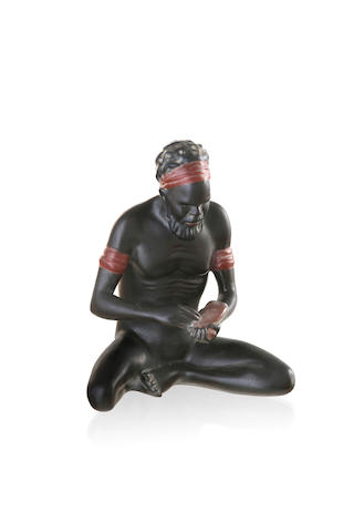 Darbyshire Pottery, Western Australian  A figure of a seated indigenous elder, circa 1950