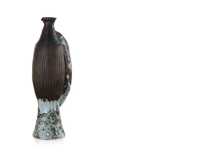 A tall slender glazed earthenware ewer by David and Hermia Boyd, circa 1960