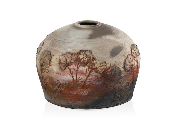 An ovoid glazed earthenware landscape vase by Jeff Michham (b. 1950) 1980