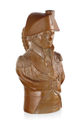 A Doulton & Watts's brown salt glazed full bust of Lord Nelson, early 19th century