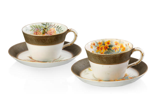 A Pair of Royal Worcester cups and saucers from the Ellis Rowan Australian Flowers Series, 1913,