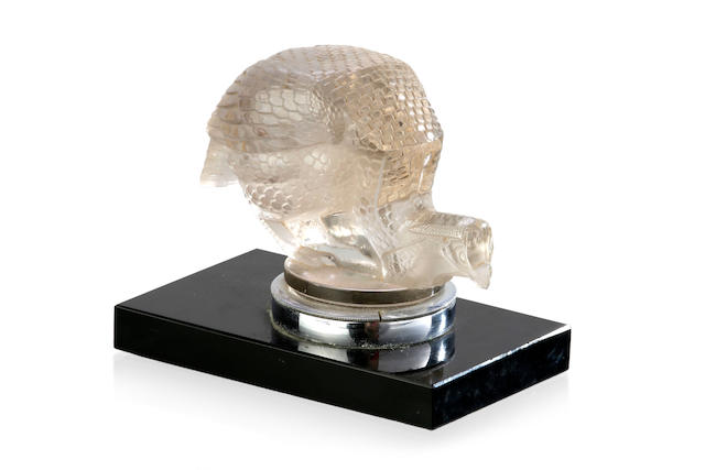 """Pintade"" A Rene Lalique clean glass mascot no. 1164, introduced 1929 dipicting a guinea fowl"