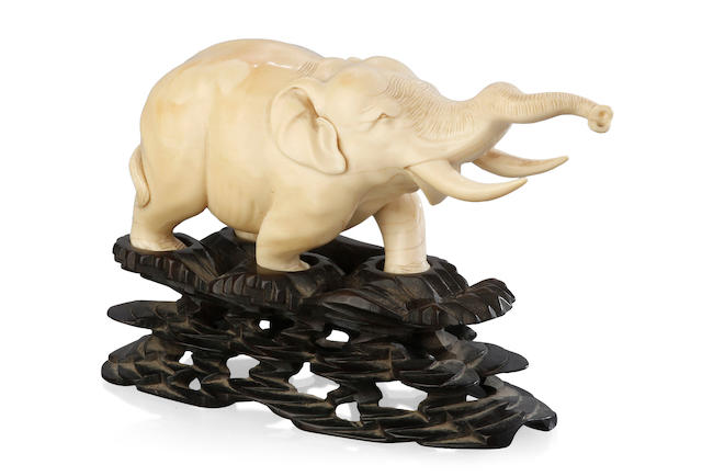 A Japanese ivory carving of a bellowing elephant