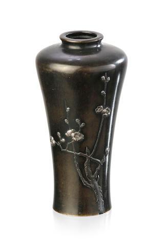 A Japanese bronze mixed metal vase, Meiji period, signed Yamamoto Zo