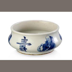 A Chinese blue and white porcelain squat vase, 18th century