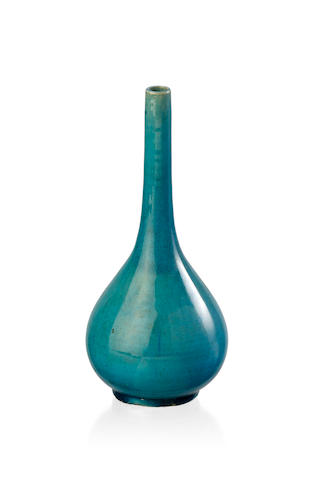 A Chinese turquoise monochrome bottle vase, 19th century