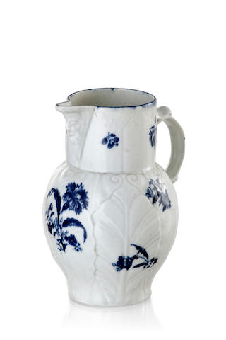 A Caughley porcelain mask jug circa 1780