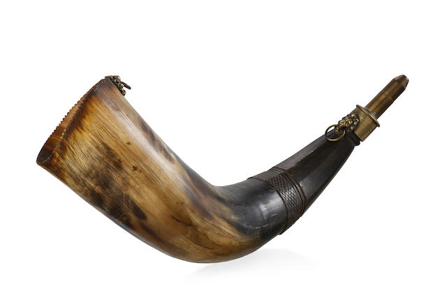 A 19th century scrimshaw powder horn, engraved Mew Wouth Wales 1833