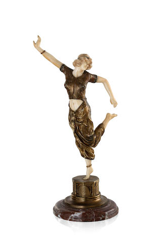 "Claire Jeanne Roberte Colinet (1880-1950) A French Nouveau bronze and ivory figure ""A Dancer"""