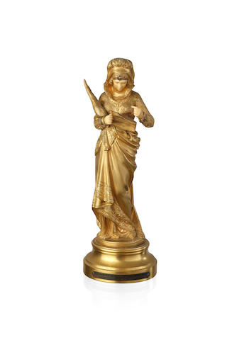 """Chant de la Fileuse"" A gilt bronze and ivory figure by Maurice Constant Favre, circa 1920"