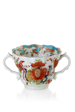 A Worcester porcelain two handled loving cup, circa 1768