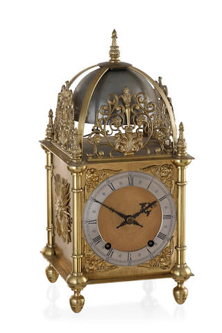 A German Gilt Metal Lantern Clock by Winterhalder & Hofmeier, circa 1890