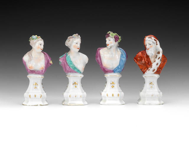 A set of four Chelsea bustos, circa 1765-69