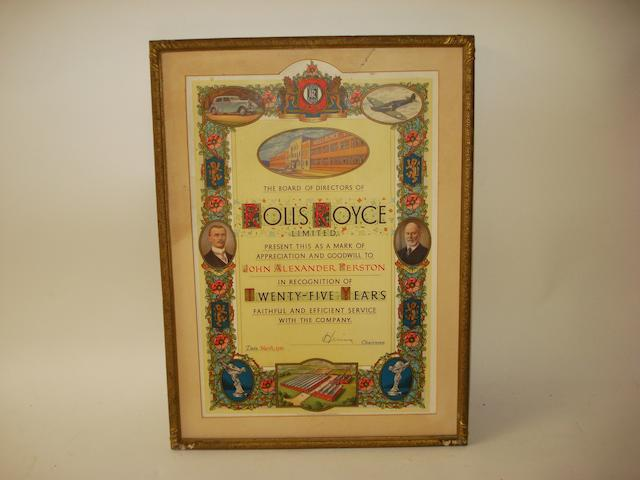 A 1943 Rolls-Royce 25-Years Service certificate signed by Lord Hives,