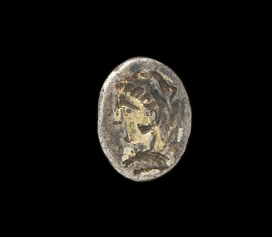 A Hellenistic silver ring engraved with the head of Alexander the Great