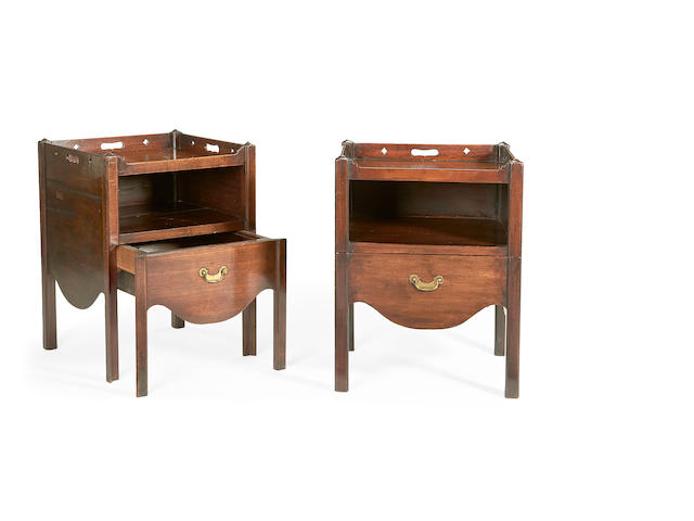 A pair of George III style mahogany bedside commodes