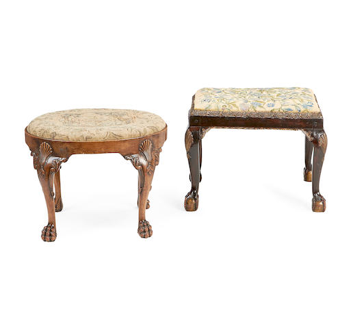 Two late Victorian stools in the George II/III style