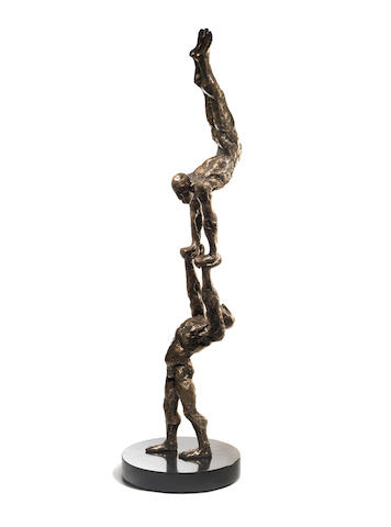 Stella Shawzin (South African, born 1923) 'Balancing Figures III' 110cm. (43 5/16in.) high (not including base)