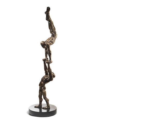 Stella Shawzin (South African, born 1923) Balancing Figures III, bronze