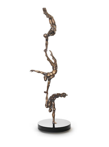 Stella Shawzin (South African, born 1923) Balancing figures IV, bronze