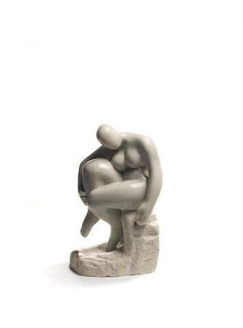 Stella Shawzin (South African, born 1923) Seated Woman on rock, marble