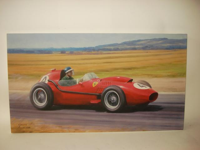 'Mike Hawthorn Champagne Victory', after Graham Turner, a limited edition giclee print on canvas,