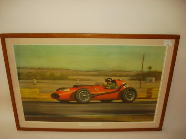 'Mike Hawthorn - 1958 Moroccan Grand Prix', a print after Roy Nockolds,