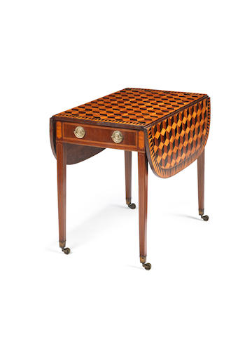 A George III tulipwood, rosewood, satinbirch and mahogany, parquetry Pembroke table