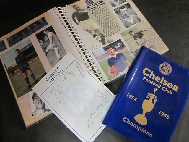 1954-55 Chelsea Champions Book and football photograph album