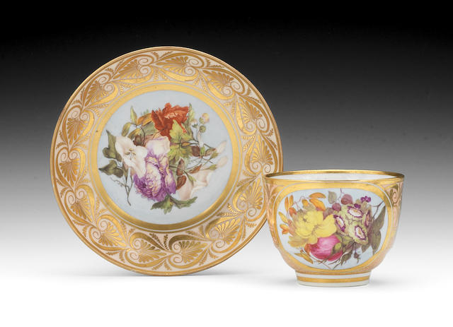 A good Barr, Flight and Barr teacup and saucer, circa 1808-10