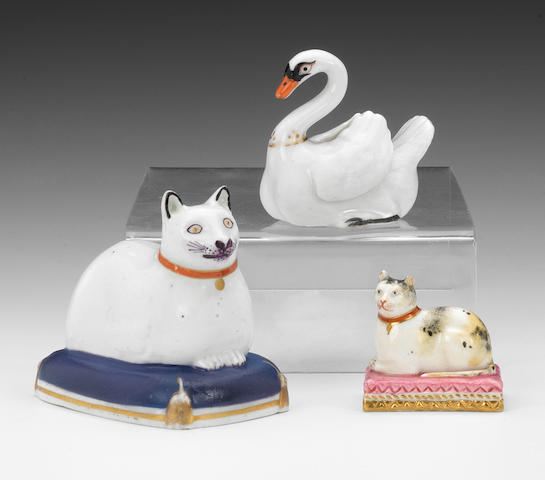 Three good English porcelain animal models, circa 1805-25