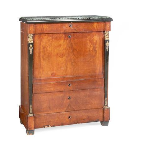 An Empire mahogany, ebonised and parcel gilt secretaire á abbatant