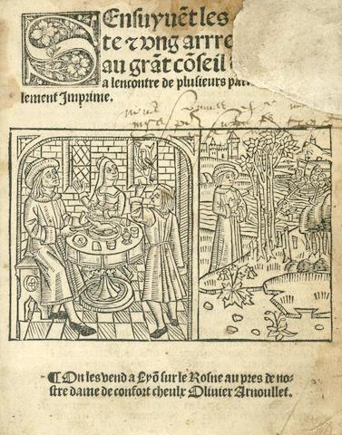 MARTIAL DE PARIS (or D'AUVERGNE) S'ensuyve[n]t les cinquante [et] ung arrestz do[n]nes au gra[n]t co[n]seil d amours a l encontre de plusieurs parties, 1527