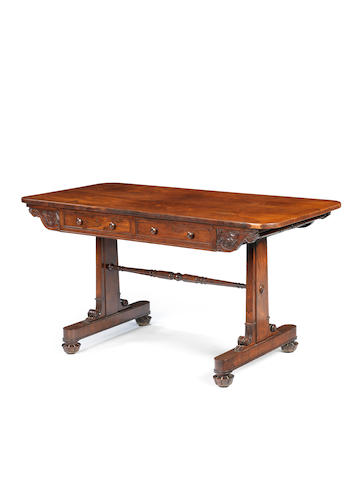 A Regency rosewood library table in the manner of T&G Seddon