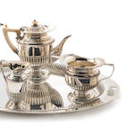 A Victorian silver four piece tea and coffee service with a matched two-handled tray by Mappin & Webb, the tea and coffee service, London 1899, the tray, Sheffield 1899   (6)