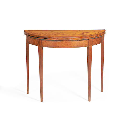 A George III satinwood and rosewood crossbanded demi-lune card table