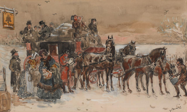 Albert Ludovici, Jnr., RBA (British, 1852-1932) Unloading the carriage