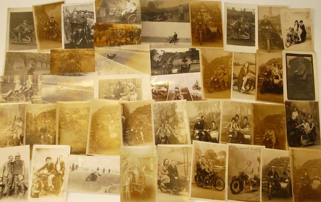 Assorted 1920s-30s motorcycling postcards,