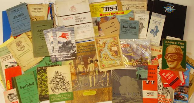 Assorted motorcycle sales literature and ephemera,