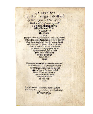 PARKER (MATTHEW, editor)] A Defence of Priestes Mariages, Stablysshed by the Imperiall Lawes of the Realme of Englande, 1567
