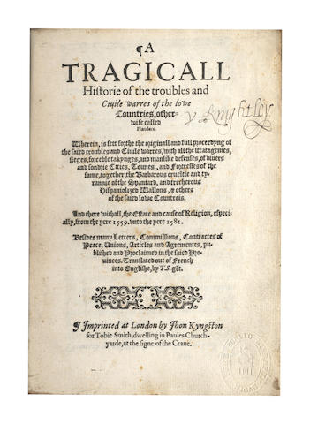RYCKEWAERT (C.) A Tragicall Historie of the Troubles and Civile Warres of the Lowe Countries, [1583]