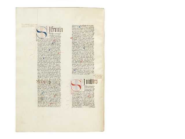 BALDUS de Perusio, also known as 'Baldus de Ubaldis'. Lectura super usibus Feudorum; LAPI de Florencia, better known as LAPO da Castiglionchio, the Elder. Allegationes iuris, DATED AND SIGNED BY THE SCRIBE FRANCONIS DE GHEELE, manuscript on paper 1436