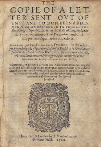 CECIL (WILLIAM, 1st Baron Burghley)] The Copie of a Letter Sent out of England to Don Bernardin Mendoza Ambassadour in France for the King of Spaine, 1588