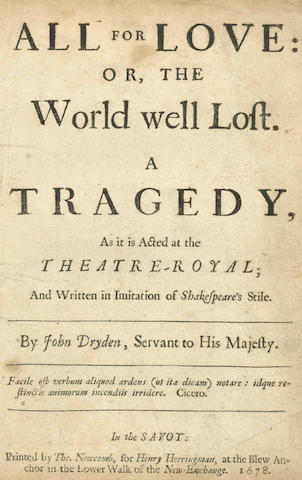 DRYDEN (JOHN) Tyrannick Love, or the Royal Martyr. A Tragedy, 1670; and 6 others, bound in one volume