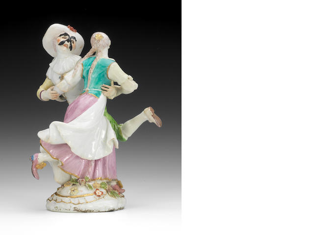 A Chelsea group of Harlequin and Columbine dancing, circa 1755